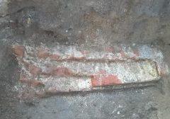 Deel van het aangetroffen muurwerk.