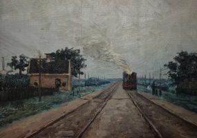 Olieverfschilderij van Gerrit van Houten: 'zicht op aankomende trein uit Holland' op een paneeldeur in zijn ouderlijk huis aan het Damsterdiep 215. Collectie: Gerrit van Houten Stichting